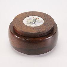 Vintage Danish Rosewood Tobacco Jar/Keepsake Box w. Enamel on Copper Decoration