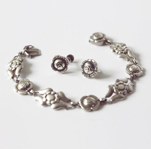Georg Jensen 'Danish Rose' Sterling Silver Bracelet (No.18) and Earrings (No.89)