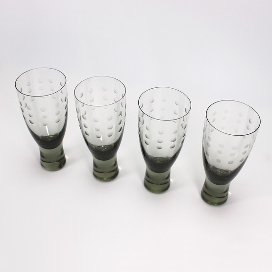 holmegaard canada smoke grey per lutken lütken lytken mid-century modern danish glassware rare engraved wine drink glass dots