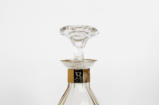 antique danish hand blown cut glass decanter wine carafe with silver collar makers mark gilt detail laurids grønlund odense