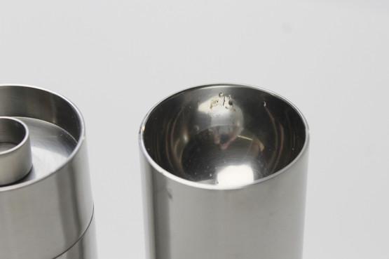 stelton cylinda line salt shaker pepper grinder cruet spice arne jacobsen table stainless steel minimalist danish design set