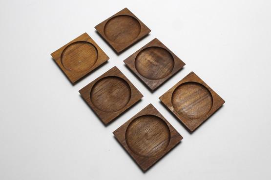 danish square mid-century modern mcm teak coasters set wood drink glass cocktail