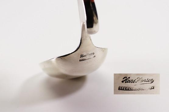 danish mid-century modern sterling silver caviar serving spoon sugar tea caddy marmalade hang edge hook strange design bowl