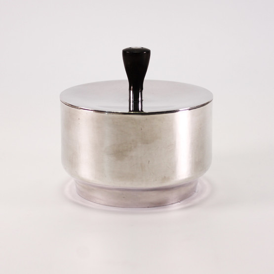 english art deco mid-century modern vanity jar trinket box silverplated simple minimalist design wooden finial keepsake tin