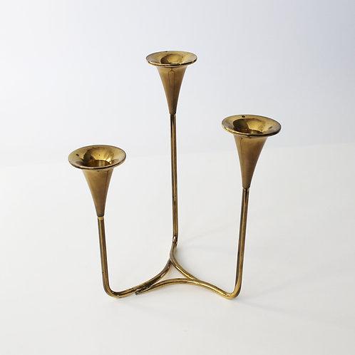 Danish Modern Three-Arm Trumpet Candle Holder in Brass