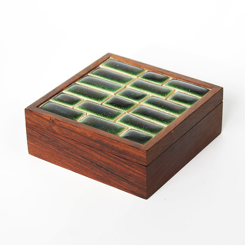 Rosewood Box with Ceramic Enamel Tiles by Finn L.