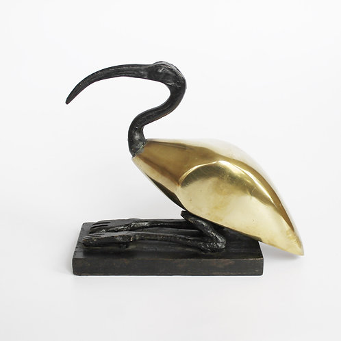 Vintage Ibis Sculpture with Brass Body and Wrought Iron Legs/Head