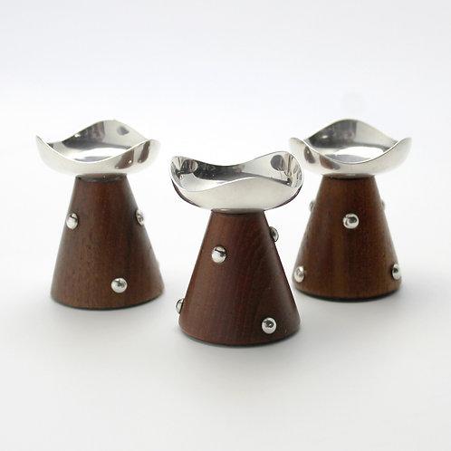danish mid-century modern teak silverplated candle holders taper dalek nun shape hans jensen