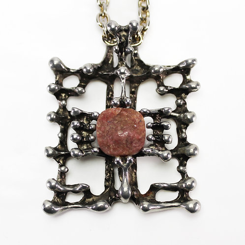 Tapani Vanhatalo finnish brutalist modernist design skeleton jewelry necklace raw stone red rose quartz rhodonite silverplate