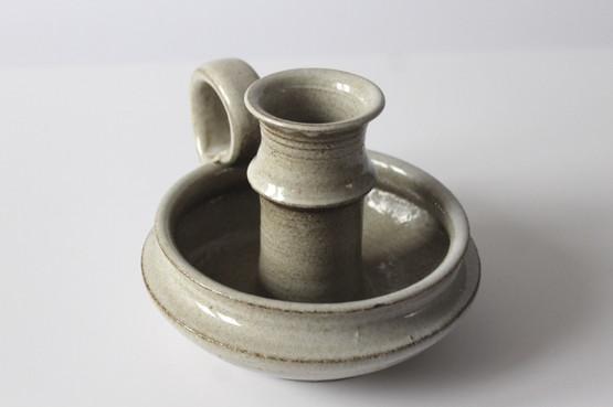 ceramic candlestick candle holder chamberstick vintage handmade signed js 92 earthtones