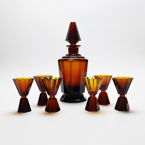 Antique Bohemian Amber Coloured Glass Decanter with Glasses, possibly by Moser