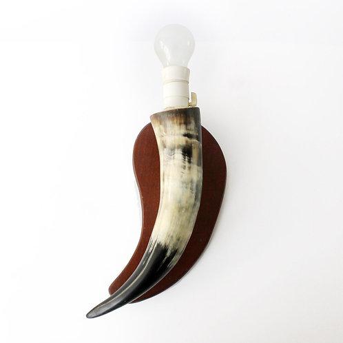 Vintage Teak-mounted Cow Horn Wall Lamp
