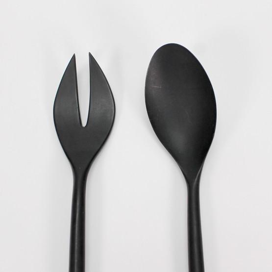 krenit salad servers herbert krenchel danish mid-century tableware design melamine plastic matte black spoon cutlery original