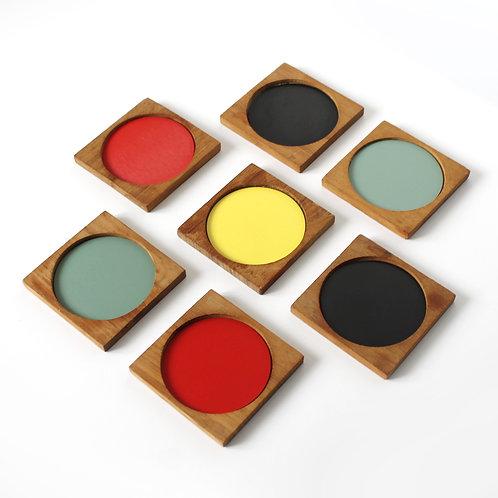 Set of 7 Laurids Lønborg Teak Colourblock Drink Coasters