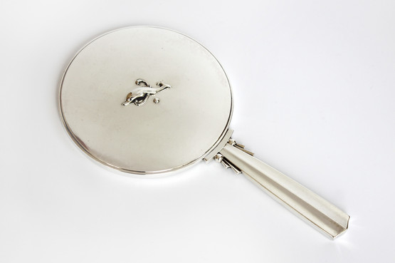 danish sterling silver georg jensen harald nielsen 150A dolphin fish hand vanity mirror makeup art deco ladies beauty funkis