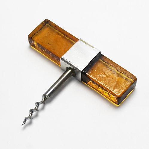 yellow glass handle bottle opener wine pull screw scandinavian amber yellow orange barware