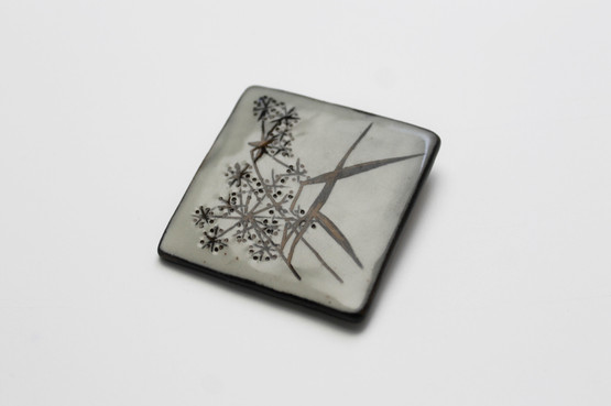 astrid tjalk ceramic brooch mid-century modern design danish jewellery modernist organic nature 1960s fyrbo keramik grass