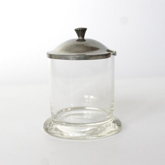 danish art deco jam marmalade preserve jar glass pewter lid just andersen antique table decor