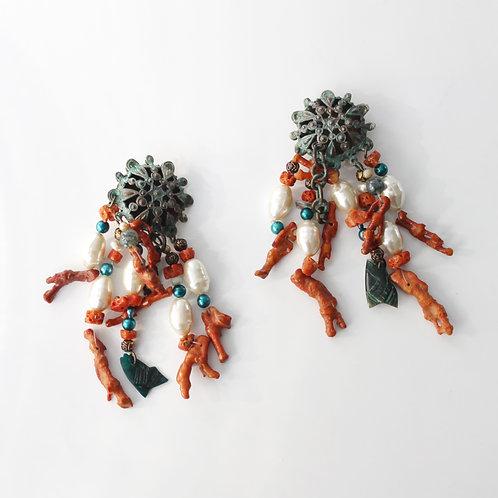 monies gerda lynggaard large statement earrings pearls coral unique one of a kind runway dangle cluster danish jewellery