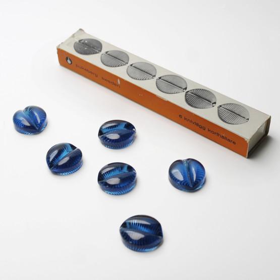 pukeberg sweden glasbruk glassworks blue teal cutlery knife rests holders menu set original box packaging 1960s 1970s table