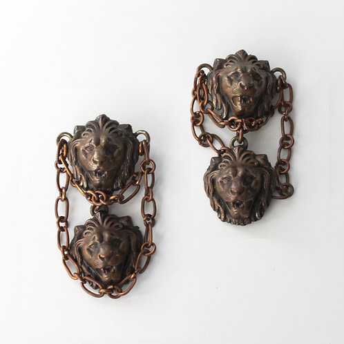 Rare Statement Earrings with Lions and Chains by Monies/Gerda Lynggaard