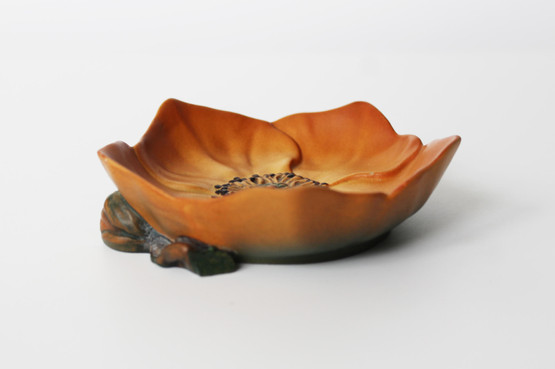 danish terracotta pin trinket dish p ipsens enke poppy flower art nouveau orange