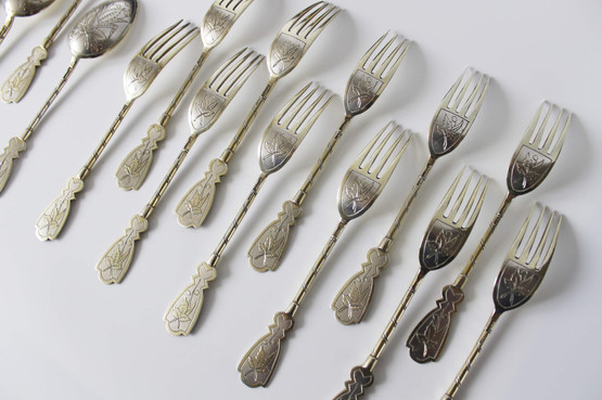 Imperial Russian Antique Silver Cutlery 19th Century Engraved Set Dessert Fork handles decorated