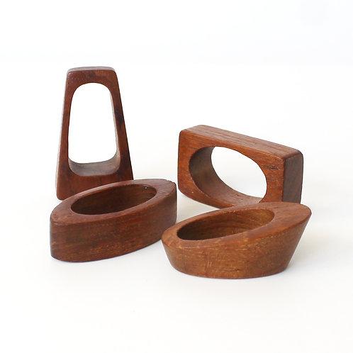 Set of Four Danish Modern Teak Napkin Rings by Nanna Ditzel