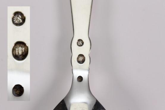 danish art nouveau silver caddy or sugar spoon with floral flower bud design by poul frigast