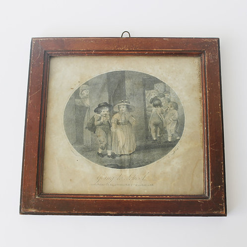 Antique 18th Century Framed Etching 'Going To School' by Knight and Stothard