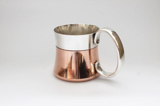 georg jensen taverna mug tankard copper silverplated beer henning koppel danish midcentury modern design in original box