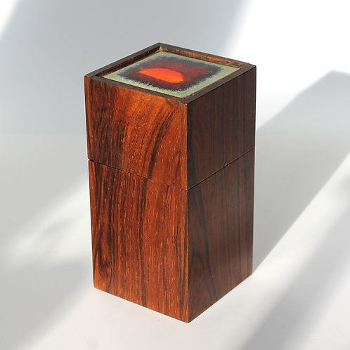 Alfred Klitgaard Rosewood Box with Enamel Tile by Bodil Eje