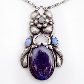 Georg Jensen Necklace No. 55: Silver with Labradorite and Opals