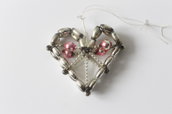 Antique Pink Beaded Heart  Gablonz Christmas Ornament czech decoration mercury glass wire