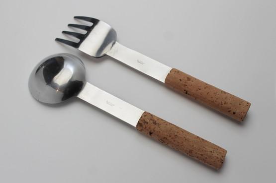 swedish design mid-century modern contemporary cork handles salad server set utencils stainless signe persson-melin boda nova