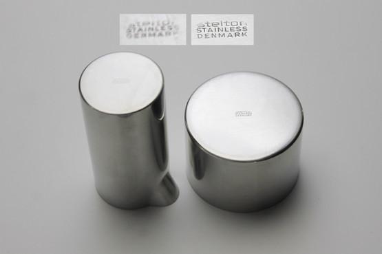 stelton cylinda line sugar bowl milk creamer cream jug jam jar marmalade coffee tea accessory arne jacobsen danish minimalist