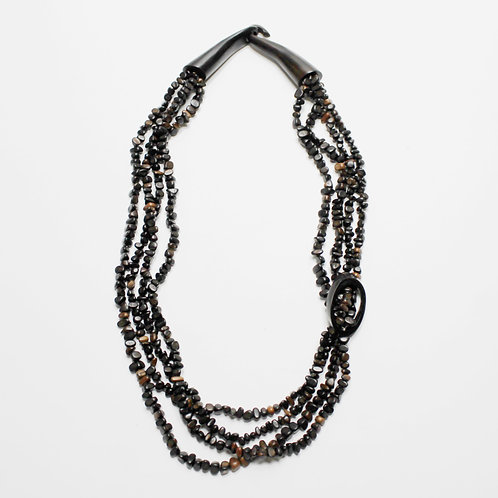 Long Monies Necklace with Dark Brown Beads and Horn Clasps by Gerda Lynggaard