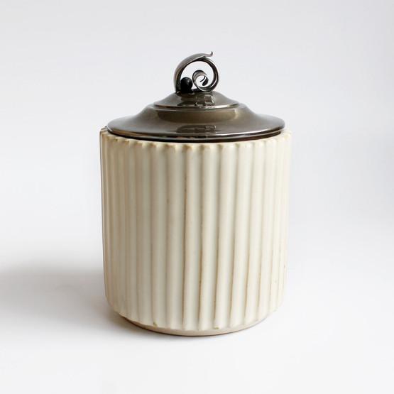 danish ceramic jam jar marmalade marmelade syltetøj silver lid l. berth ejner johansen arne bang mid-century modern ridges