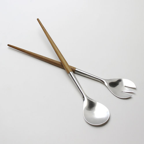stelton vintage early rare salad servers set fork spoon teak stainless danish design 1960s wood