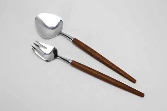 swedish mid-century modern danish design teak stainless steel salad servers fork spoon tongs table sweden karlsson nilsson