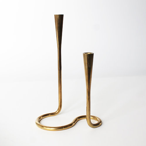Serpentine Brass Candle Holder by Auböck