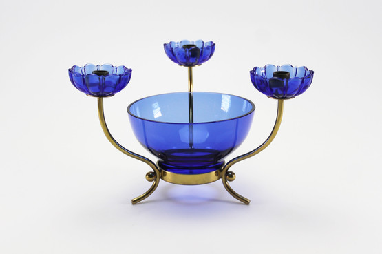 swedish mid-century modern brass candleholder centerpiece bowl blue glass bobeche flower shape gunnar ander ystad metall