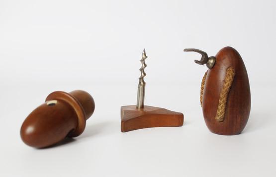 Funny Danish Mid-Century Modern Teak Figurine Corkscrew Bottle Opener Man Hat Handmade Tophat top hat