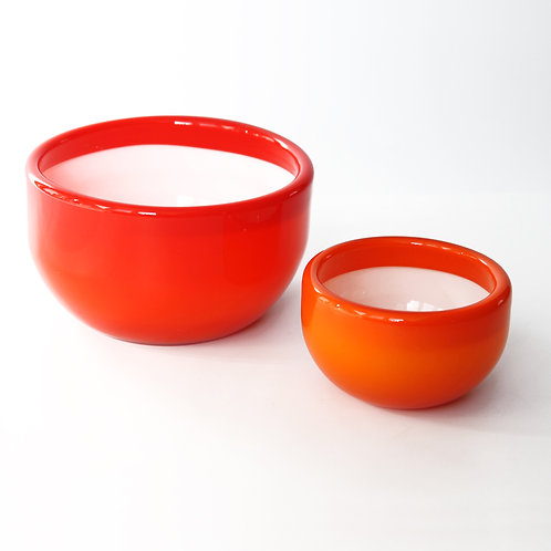 Pair of Orange-Red 'Palet' Bowls from Kastrup Holmegaard by Michael Bang