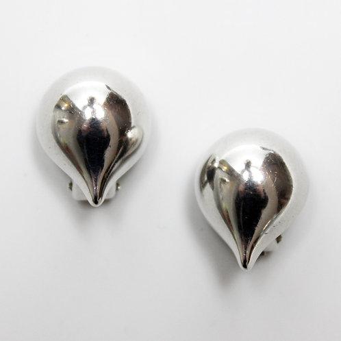 Danish Modern Sterling Silver Clip Earrings by Hans Hansen
