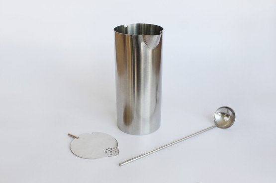 Stelton Cylinda Line Stainless Steel Minimalist Cocktail Mixing Jug with Spoon by Arne Jacobsen