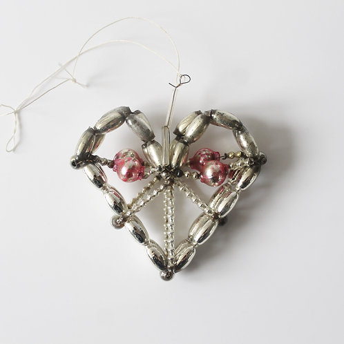 Antique Pink Beaded Heart  Gablonz Christmas Ornament czech decoration mercury glass wire