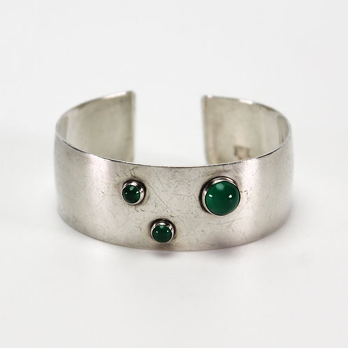 Danish Modernist Sterling Silver Bangle with Green Stone by N. E. From