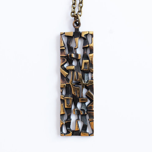 Finnish Bronze Necklace with Geometric Rectangular Motif in Style of Jorma Laine