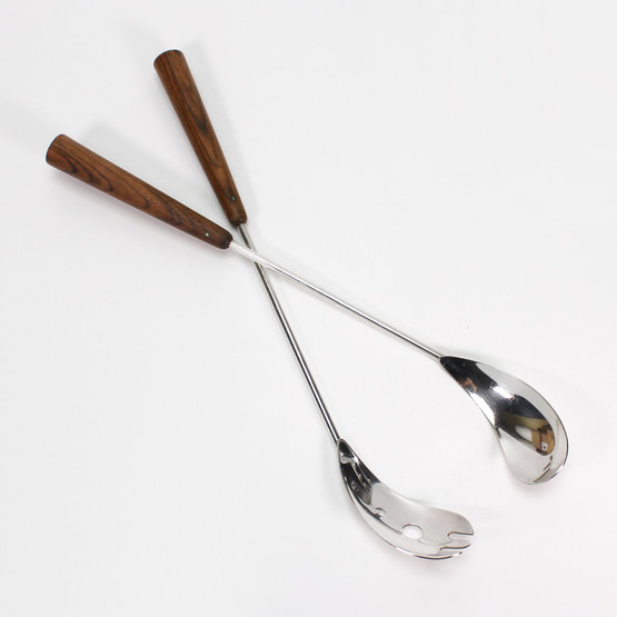 Carl F. Christiansen CC Krone Crown silverplated danish salad servers with rosewood handles look like golf clubs mid-century